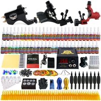 Wholesale Rotary Machine Grip - Solong Tattoo® Complete Tattoo Kit 3 Pro Rotary Tattoo Machine Guns 54 Inks Power Supply Foot Pedal Needles Grips Tips TK355
