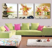 Wholesale Lily Flower Wall Canvas - Free shipping shadow lily flower wall paintings of modern art household adornment picture printed on the canvas 3 PCS