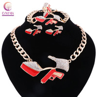 Wholesale Crystal Shoe Gift - High-heeled Shoes 2017 Hip Hop Golden Statement Red Enamel Crystal Pistol Pendant Party Gift Necklace Bracelet Earring Ring