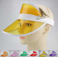 Wholesale Neon Greens Dress - Neon rave sun shade retro party cap plastic visor sun hat rave festival fancy dress poker headband