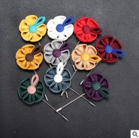 Wholesale Men Suits China Wholesale - The new fashion ribbon man brooch Multi-colored petals delicate British men suit costumes 30 colors shipping free