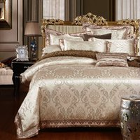 Wholesale Discount Bedding Sets Twin - Wholesale- Discount Luxury satin Jacquard Bedclothes Bedding set Wedding Noble Palace Bed set Cotton bed linen queen king SIZE