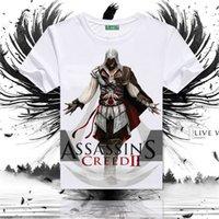 ingrosso assassini creed vestiti neri-Maledetto Assassin's Creed T-shirt a maniche corte vestiti traspiranti larghi, costume cosplay bandiera nera