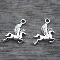Wholesale Horses Flies - 30pcs--Pegasus Charms, Antique Tibetan Silver Lovely Flying Horse Charm Pendant 17x15mm
