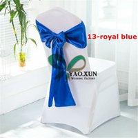 Wholesale White Satin Banquet Chair Covers - 50PCS White Spandex Chair Cover With 50pcs Royal Blue Satin Chair Sash