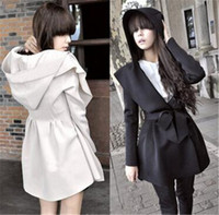Wholesale Lolita Trench Coats - Winter Fashion Trench Coats Woman Hooded Slim Ladies Outwear Western Style Dust Coats Expansion Collar Coat Windbreaker Long Coat