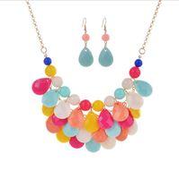 Wholesale Teardrop Bib Statement Necklace Wholesale - Fashion Floating Bubble Necklace Earrings Teardrop Bib Collar Statement Beach Jewelry sets for Women on Sale