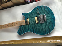 Wholesale Music Strings - Upgraded Edward Van Halen Wolf Music Man Ernie Ball Axis Blue Green Quilted Maple Top Electric Guitar Floyd Rose Tremolo Bridge High Quality