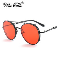 Wholesale Circle Shades Men - Gothic Sunglasses 2017 RED LENS Round Steampunk Sunglasses Men Women Metal Frame Circle Clear Lens Versae Punk Sun Glasses Shades OM376