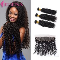 7A Virgin Indian Deep Curly Hair with Frontal Closure 4 Bundles Ear-Ear Lace Frontal Avec Baby Hair & Bundles Fast Deals