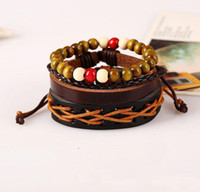 Wholesale Genuine Leather Wrap Bead Bracelet - New Punk Genuine Wrap Leather Bead Bracelets Set Men For Women Cuff Vintage Jewelry Accessories Wholesale