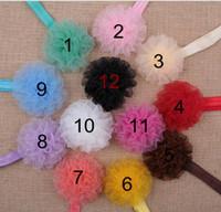 Wholesale Chiffon Carnation Flowers - Hair accessory Newborn Baby Girls Mini Chiffon Satin Flowers Carnation Flower Kids headbands hair band YH645