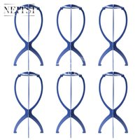Wholesale head hat stand - Neitsi 6Pcs 110g pc Blue Plastic Folding Stable Durable Wig Hair Head Hat Cap Display Holder Stands