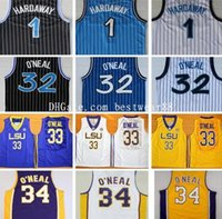 Wholesale Discount Black Uniforms - Discount 2017 Men's #1 Penny Hardaway Jersey Black White Blue 34 #32 Shaquille O'Neal Uniform Stitched College Jersey Sports Shirts For Men