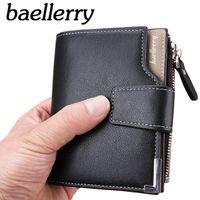 Wholesale trifold men wallet - wallet men leather multifunction men wallets zipper coin pocket trifold purse card holder hasp wallet zipper purse small