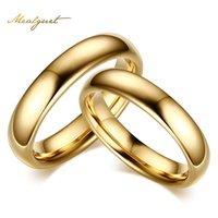 4,5 paar ringe großhandel-Großhandels-Meaeguet-Wolframcarbid-Ehering für Paar-Gold-Farbe für Frauen-Mann-Weinlese-Liebhabers Schmuck