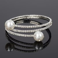 Wholesale Articles For Parties - 2017 Luxury Crystal Bangles For The bride adorn article Women pear Bracelets & Bangles Femme Bridal Wedding Jewelry Bangles