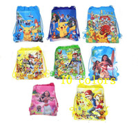 sports kids books - Moana Poke Pikachu Drawstring Bag kid Non Woven Sling cartoon Bags Kids girls boys Backpack School Bag book bag sports Party Gift bags