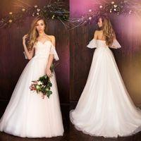Wholesale Daria Wedding Dress - Daria Karlozi 2018 Wedding Dresses China Free Shipping Off The Shoulder Appliques Beads Sweep Train Custom Made Wedding Gown