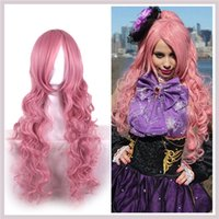 Megurine Luka Long Deep Wave Cosplay Cabelo Perucas sintéticas Pure Pink Color Fashion Side Bang Wig