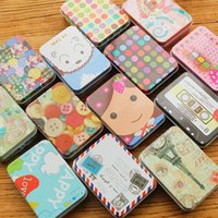 Wholesale Korean Cute Jewelry - New Creative Wedding Candy Boxes Cute Case Mini Jewelry Storage Box Chocolate Storage Tin Tinplate Coin Bags Sweet Gifts for Girls 12pcs lot