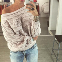 Wholesale Pink Jersey Knit - Wholesale-Anne'shop winter women ladies jumpers sweater Twisted batwing sleeve off shoulder knitted pullover jersey mujer K