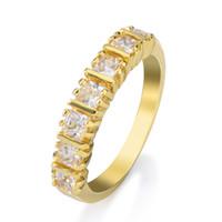 Wholesale Yellow Topaz Rings Diamonds - Yellow Gold Ring Rhinestone Diamond Cut White Topaz Cubic Zirconia Genuine Fashion Jewelry Gemstone Eternity Ring Size 6 7 8