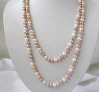 "Wholesale Pearl Real Akoya - Long 36"" 7-8mm Real Natural white & Pink & Purple Akoya Cultured Pearl Necklace"