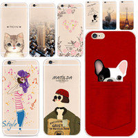Wholesale Rabbit Iphone Cases - For Apple iPhone 6 6S 5 5S SE 6Plus 7Plus 5SE Soft Silicon Transparent Phone Case Cover Cute Cat Rabbit Emojio Phone Capa