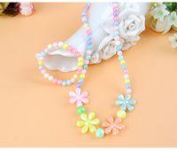 Wholesale Wholesale Kawaii Necklace - 4 Styles Fashion Kawaii Kids Necklace Bracelet Set For Sale Imitation Pearl Bead Choker Flower Hello Kitty Pendent Necklace