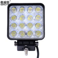 Wholesale Tractor Led Worklight - New 16 LED 48W Car Spot Worklight Head Lamp Truck Motorcycle Off Road Fog Lamp Tractor Car LED Headlight Work Lights Square Round