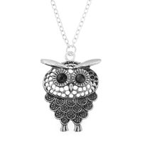 Wholesale Owl Accessories For Girls - 2Pcs Punk Style Owl Skull Pendant Necklaces For Women Vintage Statement Girls Jewelry Alloy Long Sweater Chain Accessories