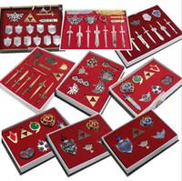 Wholesale Necklace Set Pieces - 8 pieces set Anime Games Legend About zelda Weapon Pendants Heart Key Triforce Vintage Key Chain Pendant Necklace Set Fig a toy