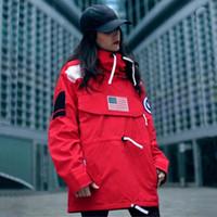 Wholesale waist coats men - S Pullover Jacket Men Women Coats Fashion Flag Outerwear Top Quality Black Army Green S~XL HFYRF004