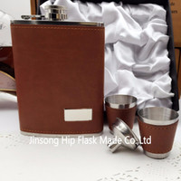 Wholesale Gift Box Cup - 8 oz leather wrapped hip flask with 2 cups and funnel in gift box packing