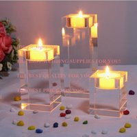 Wholesale Mousse Candle Holders - home decoration Crystal glass candle holder square solid crystal mousse decoration accessories transparent crystal candle stand set of 3