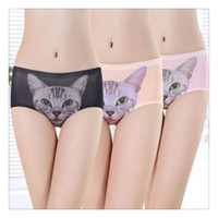 Sexy Women Underwear With Cute Kitten 3D Cat Kitty Preven Bottom Baring Private Safe Pants Livraison gratuite Lady Briefs Underwear Livraison gratuite