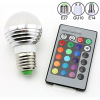 Wholesale E27 Led Remote Base - E27 B22 E14 GU10 Standard Base 16 Colors Changing Dimmable 5W 3W RGB LED Light Bulb with IR Remote Control For Decoration Party