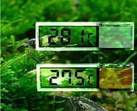 Wholesale tank thermometer - Plastic Metal 3D Digital Electronic Aquarium Thermometer Fish Tank Temp Meter Gold Silver 7 x 2x 1.5cm
