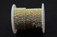 SS12 AB <b>Crystal Rhinestone Close Chain</b> Trim Golden 10 Yard Sewing Accessories