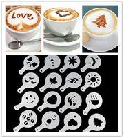 ingrosso stencil spray-16 Pz / set Moda Cappuccino Caffè Barista Stencil Template Cospargere Pad Spolverino Gusto Nespresso zavarnik dolce Strumenti
