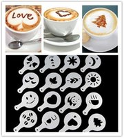 Wholesale Coffee Stencils - 16Pcs set Fashion Cappuccino Coffee Barista Stencils Template Strew Pad Duster Spray Gusto Nespresso zavarnik dolce Tools