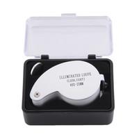 lup, camı aydınlatmak toptan satış-Işıklı Büyüteç Ledlight 40X-25MM MG21011 40x25mm Kuyumcu Büyüteç MINI Işıklı Büyüteç Katlanabilir Büyüteç Lens ile 2 LED Işık