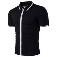 Wholesale Gradient Color Cardigan - Summer Fashion Men's Polo Shirt Stripes Hit Color Mens Clothing Zipper Cardigan Short Sleeved Lapel Polo Shirt B4044