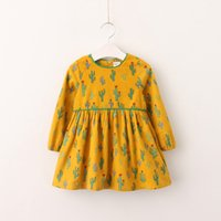 Wholesale Girls Round Collar Dress - Children autumn printed dress girls round collar lace cactus long sleeve dress kids fashion princess pleated dress A00049