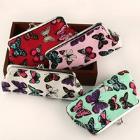 Wholesale Butterfly Clutch Purses - Wholesale- 2016 Women's Ladies Butterflies Printed Coin Purse Canvas Pouch Cloth Buckle Clutch Carteira 9IFE