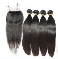 Wholesale Medium Brown Lace Closure - 2017 hot selling Silky straight Virgin Malaysian hair 3pcs human hair bundles with a closure medium brown swiss lace free part middle part