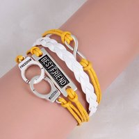 Wholesale Sideways Bar Bracelets - Wholesale- Silver Sideways Charm Justin bieber Best friend Infinity Braided Yellow Leather Cuffs Bracelet Wristbands