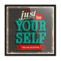 Wholesale Beautiful Floral Patterns - Free shipping novelty gift retro just be yourself you are beautiful words pattern home cafe hotel decorative hanging poster photo picture