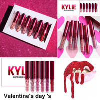 Wholesale Free Lipsticks - 2017 New Kylie Jenner lipgloss Valentine Edition beautiful 6pcs Set Kylie Lipstick Liquid Matte Lip gloss Valentine Gift free shipping